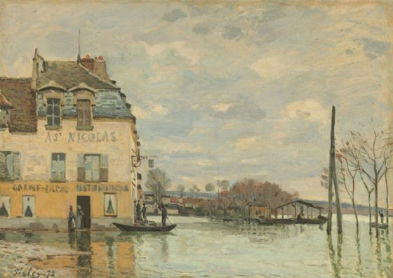 Sisley, Alfred: Flood at Port-Marly. Fine Art Print/Poster. Sizes: A4/A3/A2/A1 (003961)